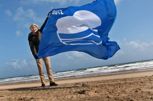 Linda Arkley, elected Mayor of North Tyneside celebrates all of the beaches in North Tyneside beaches being awarded 'Blue Flag' status torecognise the cleanliness of the sand and water.