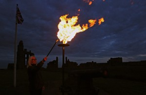 A beacon to mark the Queen's Diamond Jubilee was lit at Tynemouth Castle at exactly 10.01pm.  The beacon was one of 2,012 lit throughout Great Britain, culminating with the Queen lighting the final one at 10:30.
