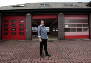 Phaedra Grant, a Property Guardian, one of many people who live cheaply in empty buildings managed by Ad Hoc Property Management and in return ensure their security, seen in her des res - the disused Blyth Fire Station