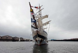 The sail training ship Stavros S Niarchos sails from the Port of Blyth after a two day stay as the centrepiece of the town's Renewables Festival