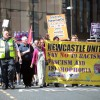 Over a thousand supporters of the EDL congregate and hold a protest march in Newcastle upon Tyne, countered by a march held by Newcastle Unites, a collection of groups opposed to the EDL. A heavy police presence kept the groups separated. Photo credit: Adrian Don