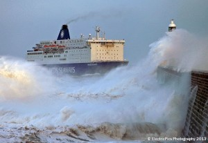 The wrathful sea: DFDS ferry Princess Seaways battles her way past Tynemouth pier, arriving in the river Tyne from Amsterdam nine hours late due to very poor conditions in the North Sea . Pic By Adrian Don, ElectricPics Photography