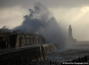 Gale force winds and stormy seas batter Tynemouth pier. Pic By Adrian Don, ElectricPics Photography