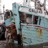 Fishing boat Grenaa Star refloated after pier collision. Picture by Adrian Don, ElectricPics Photography