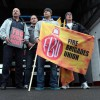 Members of the Fire Brigades Union walk out on strike at the stroke of noon at Tynemouth Fire Station
