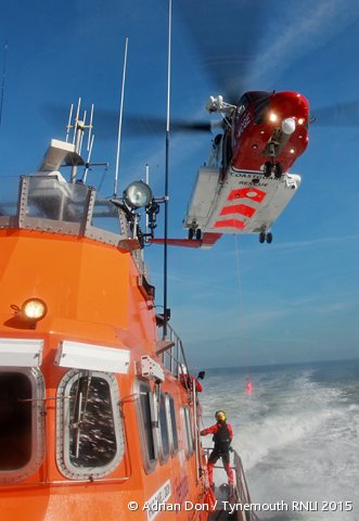 Tynemouth RNLI lifeboats exercise with new HM Coastguard rescue helicopter
